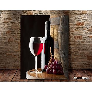Large Wall Art Canvas Red Wine Wine Bottle and Barrel Giclee Canvas Art Print