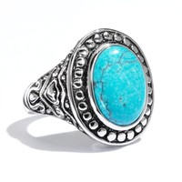 Silver Tone Simulated Turquoise Oval Cabochon Ring (Blue)