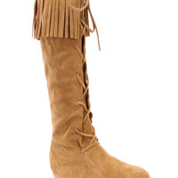 Tan Lace Up Fringe Moccasin Boots Faux Suede