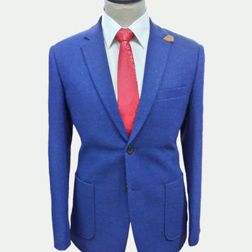 Wool 2 piece Men's suit includes custom jacket and custom pants / Super 110s / Blue and black blend