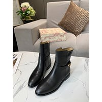 DIOR  Trending Women's men Leather Side Zip Lace-up Ankle   Boots Shoes High Boots