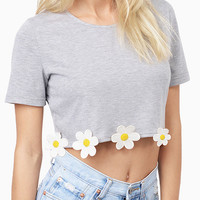 Light Gray Daisy Applique Hem Crop Top