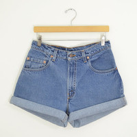 "Vintage 90s LEVIS 560 High Waisted Shorts Medium Wash Denim Cuffed Rolled Cutoff Hem Boyfriend Jeans Festival Concert Wear Size 31"" Waist"