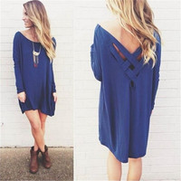 Women's New Plus Size Dark Blue Long Sleeve Shirt Pullover Tops Bandage Dress = 1956897156