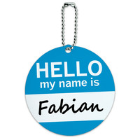 Fabian Hello My Name Is Round ID Card Luggage Tag