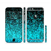 The Black and Turquoise Unfocused Sparkle Print Sectioned Skin Series for the Apple iPhone 6 Plus