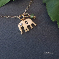 Personalized Elephant Necklace, Birthstone Necklace, Initial Charm, Lucky Charm, Dainty Gold Necklace, Delicate Necklace, Friendship Jewelry