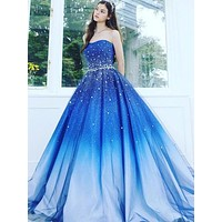Gradation Blue Strapless Long Prom Dresses Beaded Pastel Formal Dress