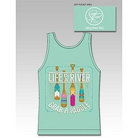 Sassy Frass Life is a River Grab a Paddle Comfort Colors Girlie Bright Tank Top T Shirt