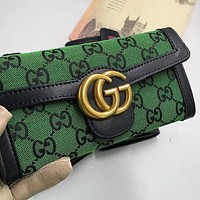 Fendi embroidered letters denim stitching color G clamshell wallet long clutch