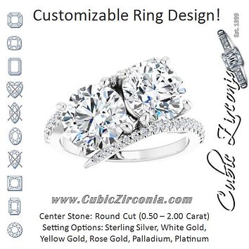 Cubic Zirconia Engagement Ring- The Nellie (Customizable Double Round Cut 2-stone Design with Ultra-thin Bypass Band and Pavé Enhancement)
