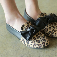 Women new fashion spring summer Street trend leopard print flat heels round toe bow shoes large plus size 40-43