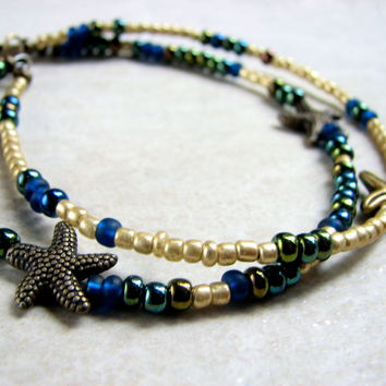 2-Strand Sea Star Anklet Bracelet for Women