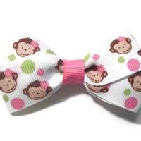 """3"""" Monkeys and Polka Dots Hair Bow Girls Boutique"""