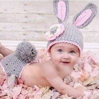 Grey Bunny Rabbit Handmade New newborn Baby infant Girl boy Costume Beanie photography photo Props Crochet Clothes shorts Sets knits caps hats (Size: 0-6m, Color: Gray & Pink) = 1958370116