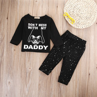 Autumn Baby Clothing Set Toddler Infant Baby Girls Boys Cotton Letter Black Tops+Pants Trousers Outfits Playsuit Set