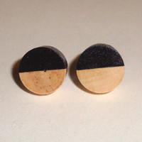 Black wood post earrings, wood stud earrings, black circle earrings, half circle earrings, fake gauges