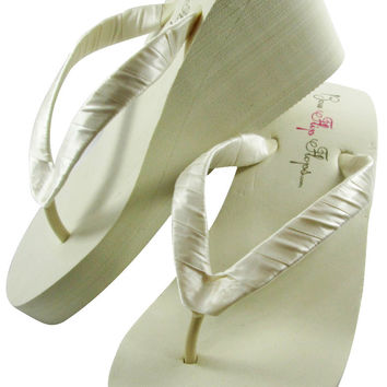 Bridesmaid & Bridal Ivory Wedge Flip Flops - Choose colors