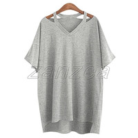 Trendy Women's Simple Solid Casual V-Neck Loose Fitting Long Shirts Tee Tops Blouse T-shirt (3 Colors, US Size L~4XL) = 1958617604