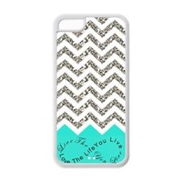 iPhone 5C Case - Turquoise Infinity Chevron Live the Life You Love, Love the Life You Live TPU Cases Accessories for Apple iPhone 5C (Cheap IPhone5)
