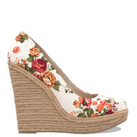Floral Chic Wedges - Ivory