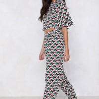Get Your Act Together Printed Crop Top and Pants Set