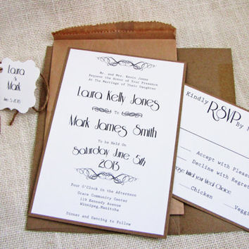 Rustic Typewriter Kraft Pocket Burlap Twine Wedding Invitation Deposit Listing