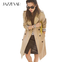 JAZZEVAR High Fashion Street Women's Classic Double Breasted Trench Coat Business Waterproof Raincoat Office Lady Outerwear