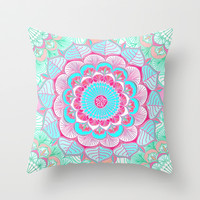 Tropical Bloom - floral doodle in pink, mint, peach, aqua, white Throw Pillow by micklyn