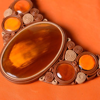 Handmade women's massive cow horn and leather necklace in amber color palette