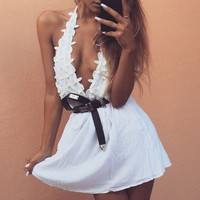 Spring white lace sexy low-cut halter strap dress folds