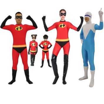 24 Hrs Shipped Out Kids Adults The Incredibles Cosplay Costumes Family The Incredibles Spandex Jumpsuits Bodysuits for Halloween