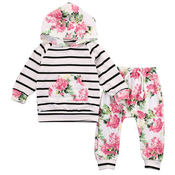 2016 kids girls Autumn clothing sets Floral Baby Girls Long Sleeve Hooded Top +Pants Outfits 2PCS Hooded Clothes Set