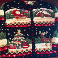 Incredible Ugly Christmas Sweater, Size Large Men's or Woman's, 1990's Soft Knit, Christmas In America, Excellent Condition.