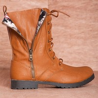 Qupid Romp And Stomp  Wyatte-19 Printed Flap Fold Down Combat Boots - Cognac