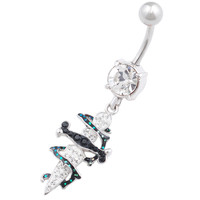 Urban Designs Thorn Dagger Dangle Clear Crystal Belly Button Ring For Girls [Gauge: 14G - 1.6mm / Length: 10mm] 316L Surgical Steel & Crystal