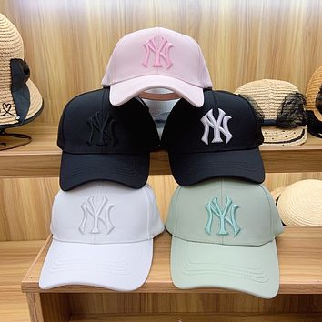 """""""New York Yankees"""" Unisex Solid Color Macaron Letter Embroidery Baseball Cap Couple Casual Peaked Cap Sun Hat"""