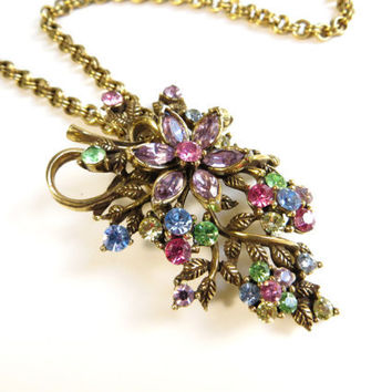 Vintage Coro Rhinestone Flower Necklace, Floral Flower Choker, Antique Gold Tone Metal, Pink, Blue, Purple, Green and Yellow