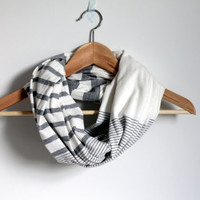 Infinity scarf, gray and ivory white stripe, circle scarf, loop scarf