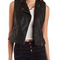 Quilted Faux Leather Moto Vest by Charlotte Russe - Black Combo