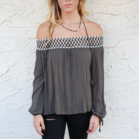 South End Olive Off The Shoulder Top