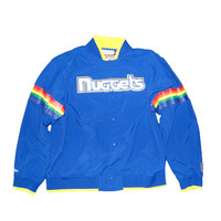 Mitchell & Ness Denver Nuggets NBA Net Warm Up Jacket In Royal Blue