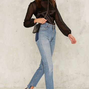 After Party by Nasty Gal Part-Time Lover Satin Blouse