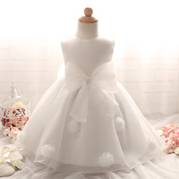 1 year old Baby Girl Dress Vintage Princess Big Bow Girls Lace Flower Dresses Events Kids Clothes Babies Baptism Birthday Dress
