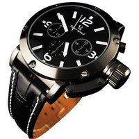 Sport Style Black Dial Leather Strap Men Quartz Wrist Watch