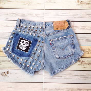 Studded High waisted denim shorts Levis Goth Grunge Hipster Gothic Clothing Misfits patches