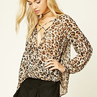 Leopard Print Surplice Top