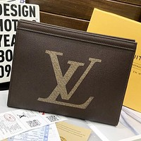 LV Louis Vuitton New fashion monogram tartan leather cosmetic bag file package handbag