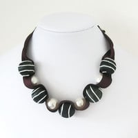 Ribbon Jewellery Bead Necklace Silk and  Large Pearls Black Burgundy Ivory