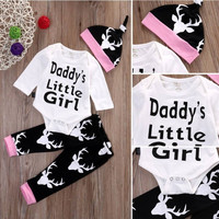 (Daddy's little girl) Deer/hunting Themed 3 Piece Set. Onesuit/Romper Pants and Hat